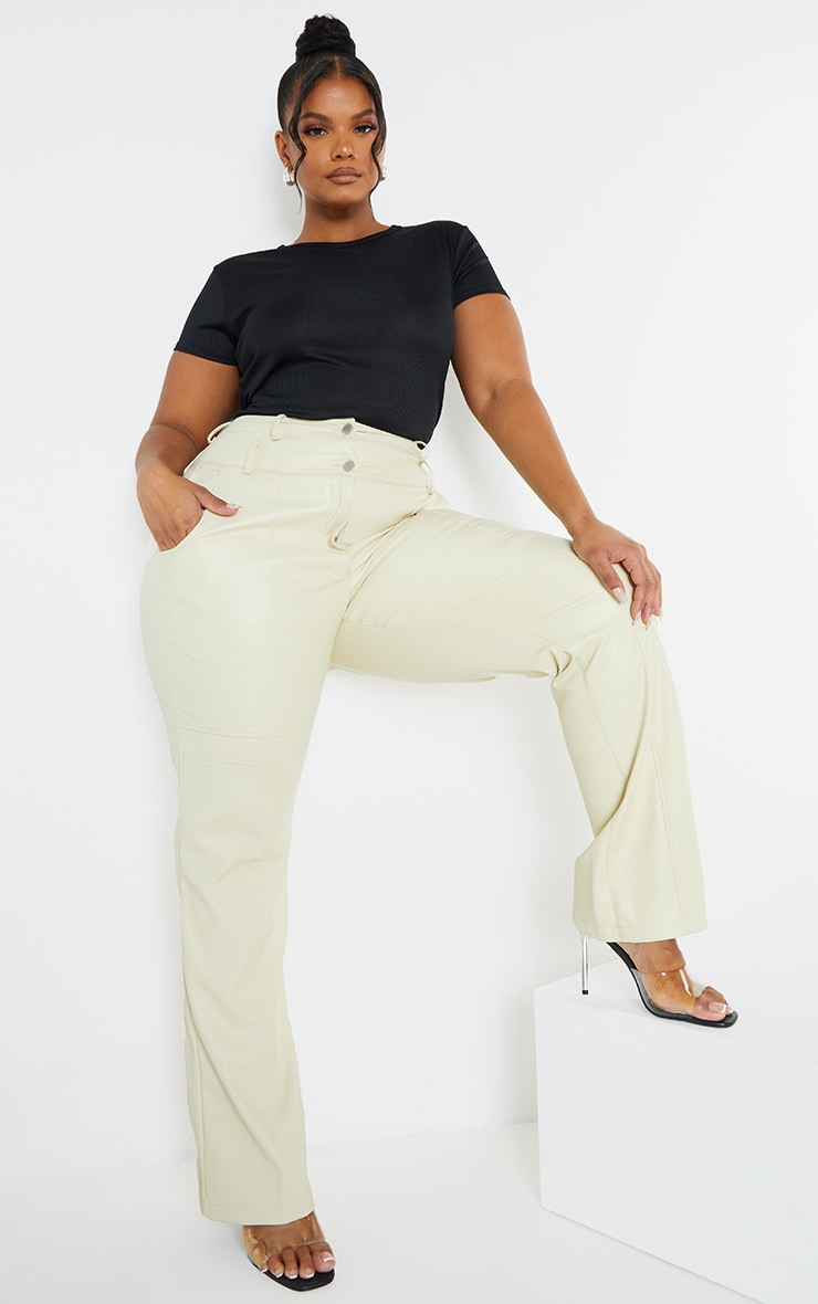 Plus Cream Faux Leather Double Waistband Straight Leg Trousers 1
