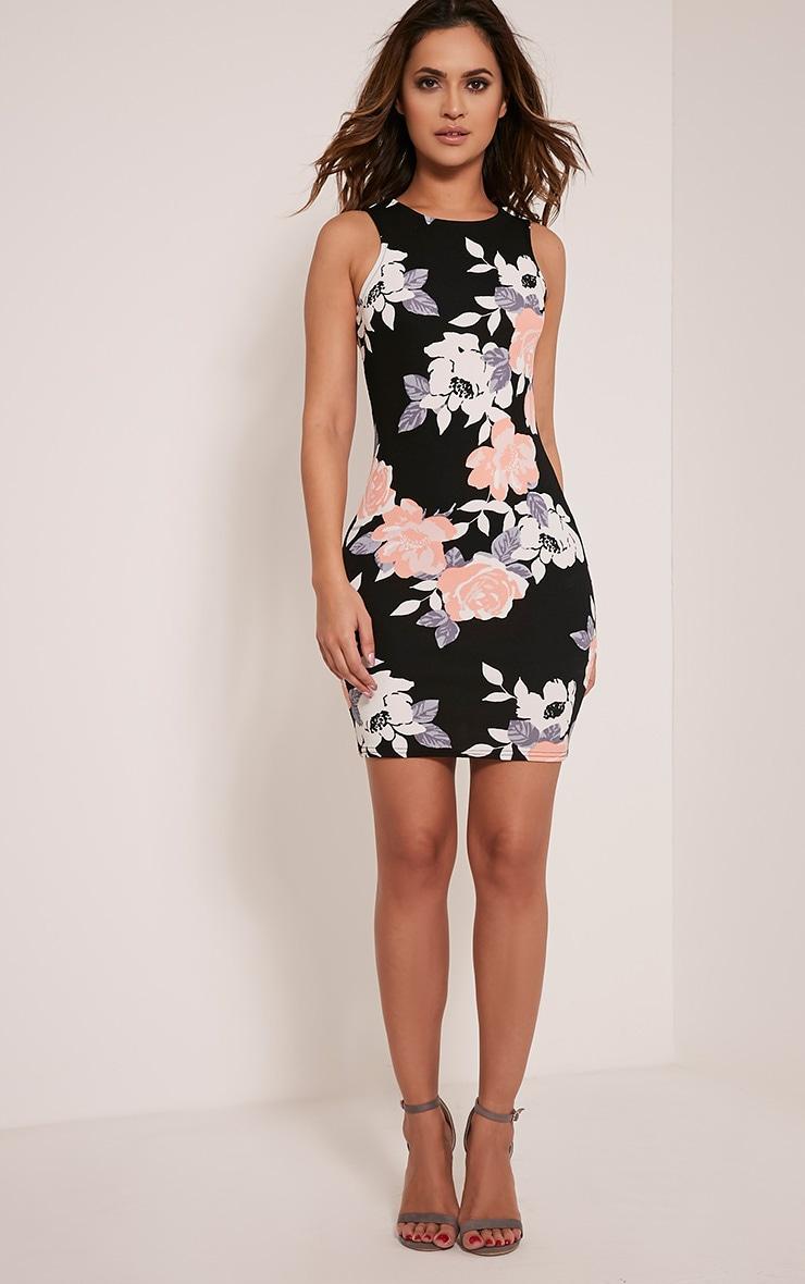 Kamaya robe mini noire devant nageur à fleurs 5