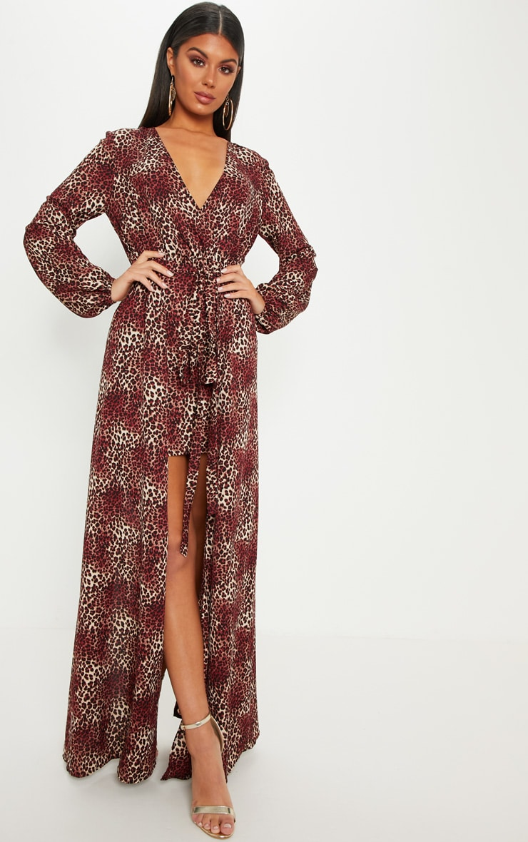 Brown Leopard Print Satin Plunge 2 in 1 Maxi Dress 1
