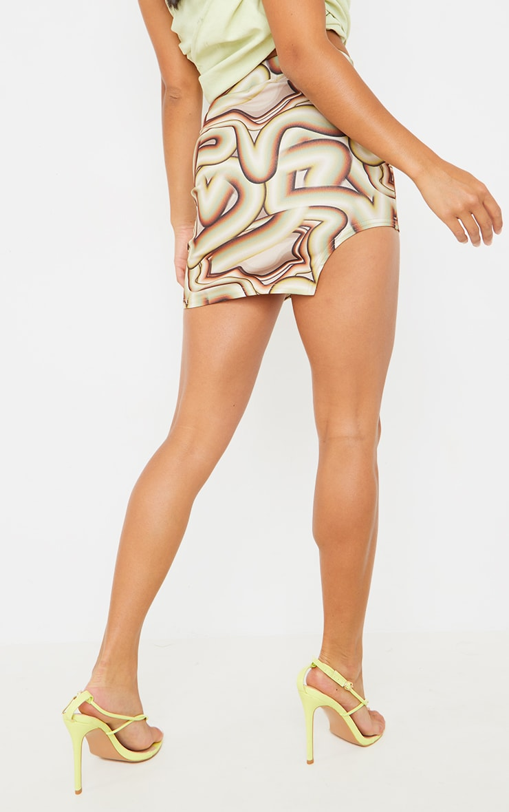 Petite Brown Swirl Print Cut Out Side Skirt 3
