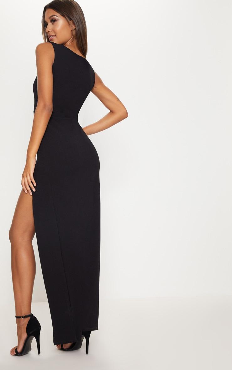 Black Square Neck V Cut Split Leg Maxi Dress 2