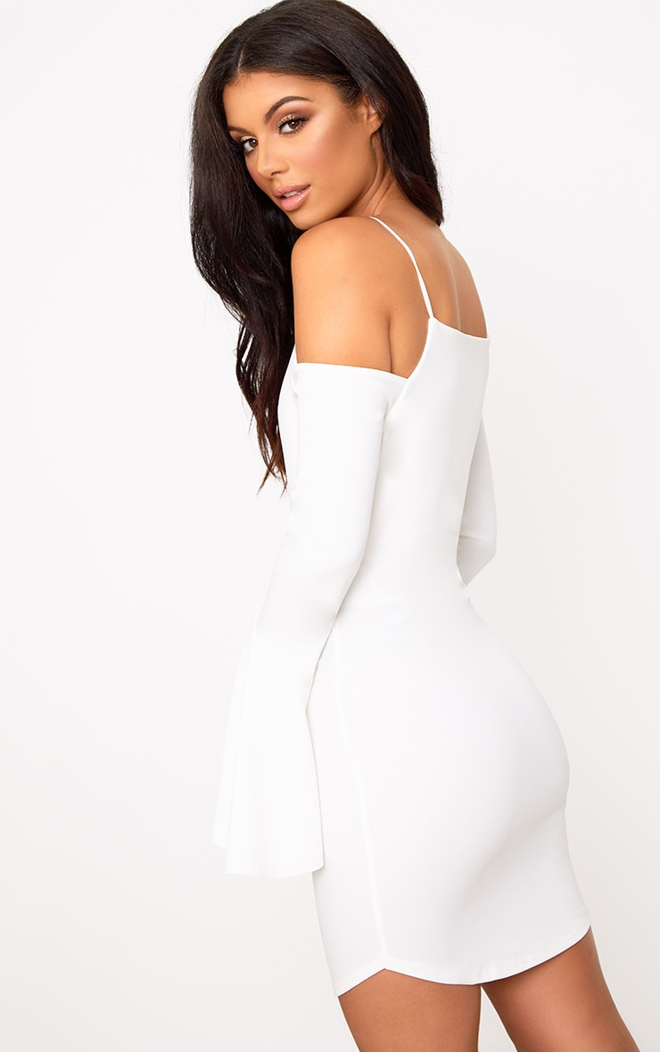 White Cold Shoulder Flared Sleeve Bodycon Dress 2