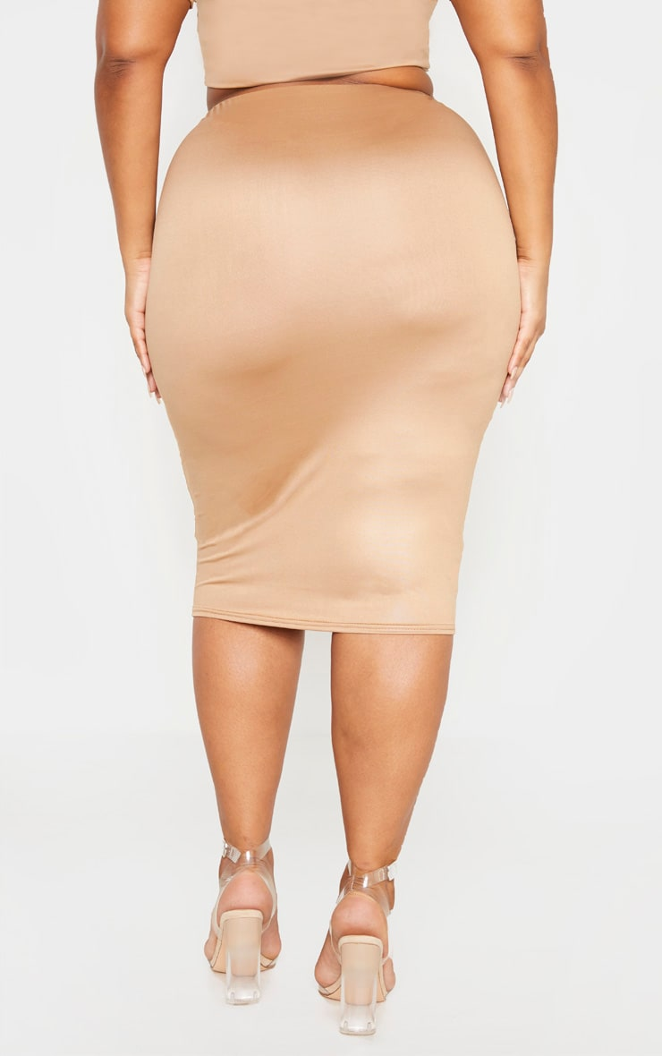 Plus Camel Wet Look Midi Skirt 4