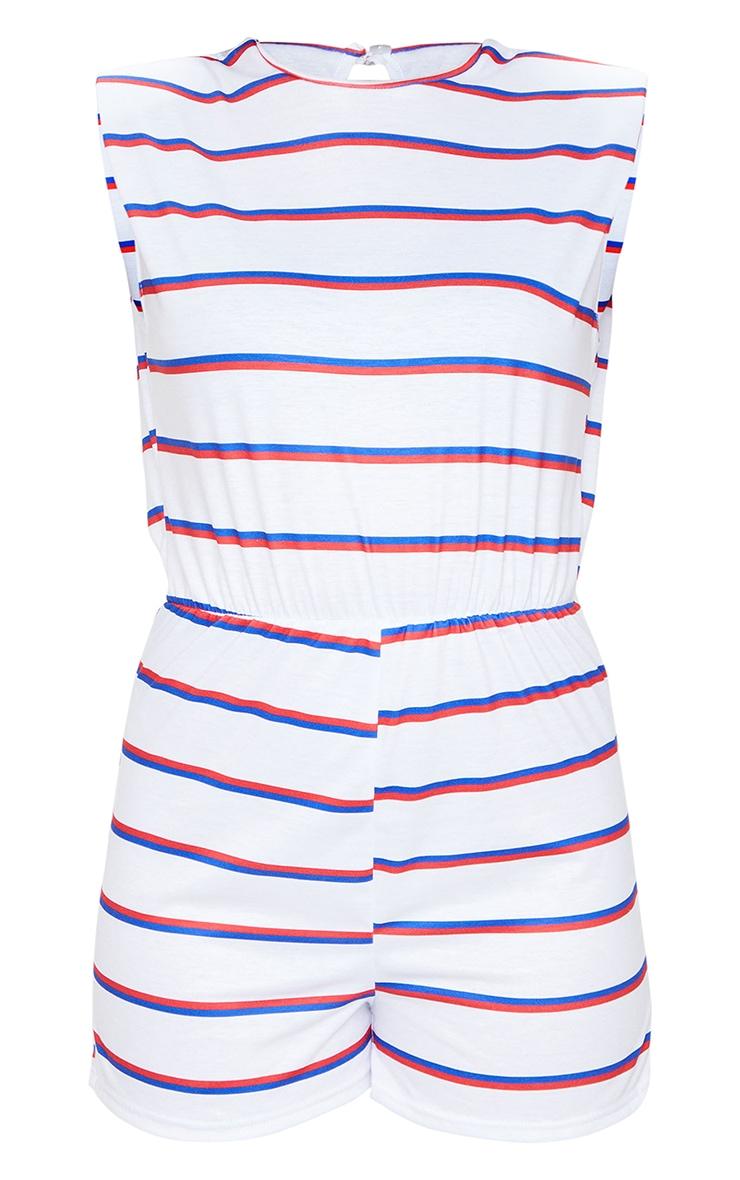 White Striped Crew Neck Shoulder Pad T Shirt Playsuit 5