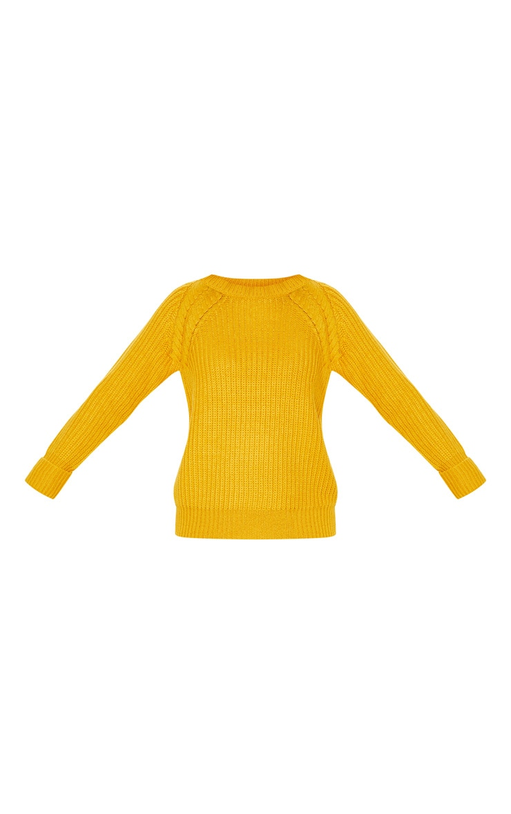 Mustard Cable Shoulder Chunky Knitted Sweater 3