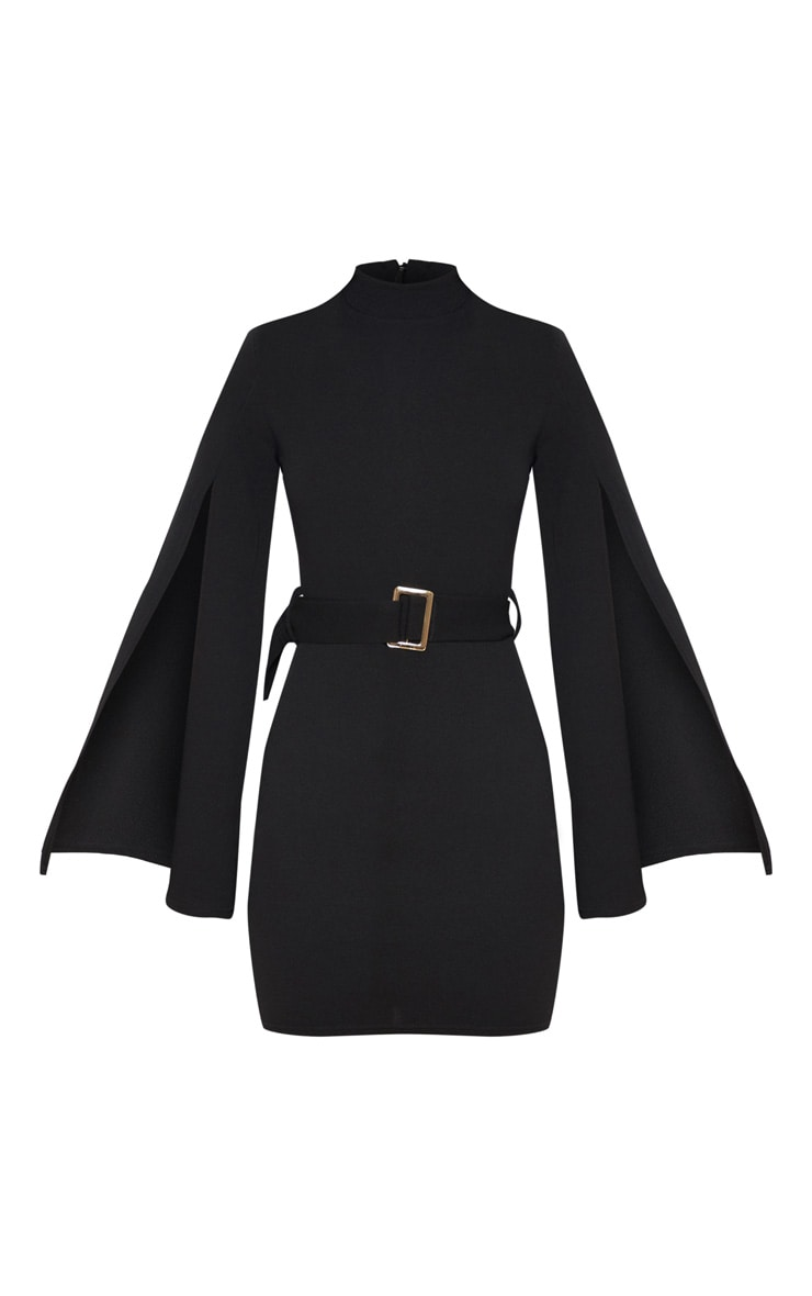 Black High Neck Flare Sleeve Belted Bodycon Dress 3