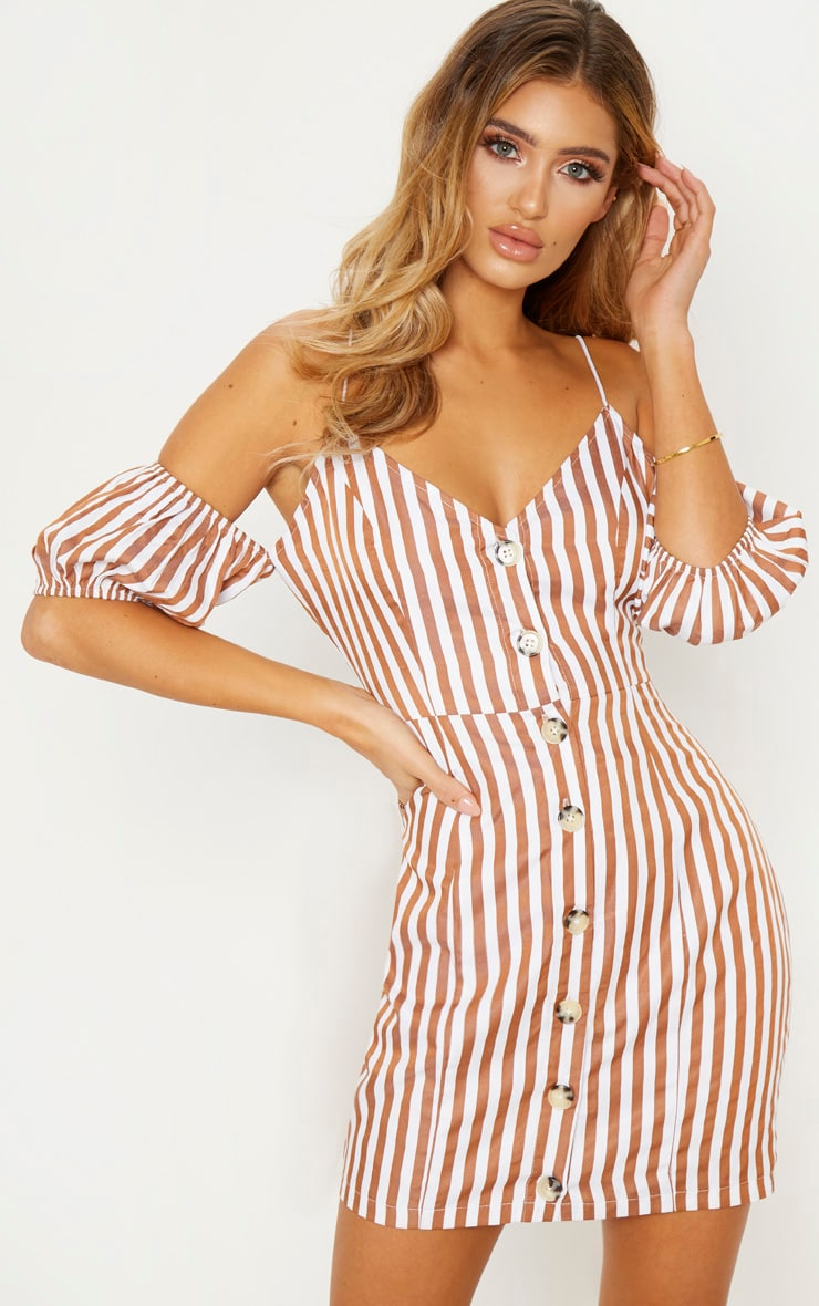Brown Stripe Print Button Up Puff Sleeve Bodycon Dress