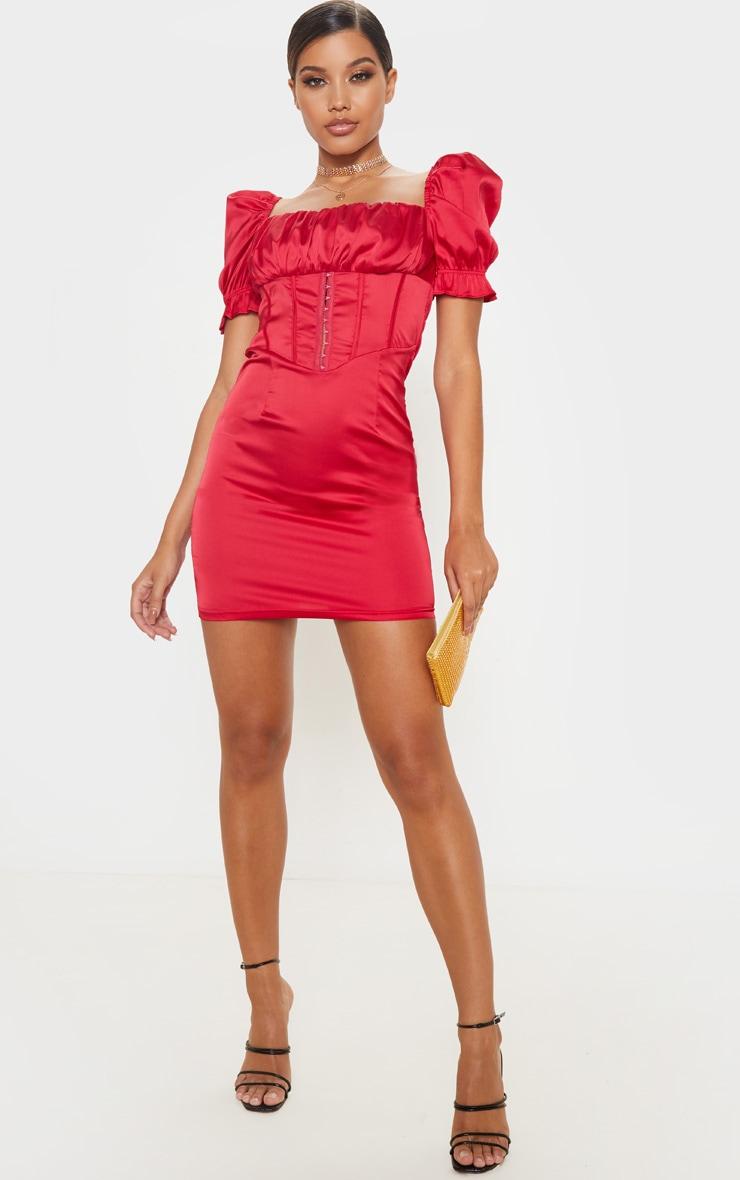Scarlet Satin Puff Sleeve Hook & Eye Panelled Bodycon Dress 1