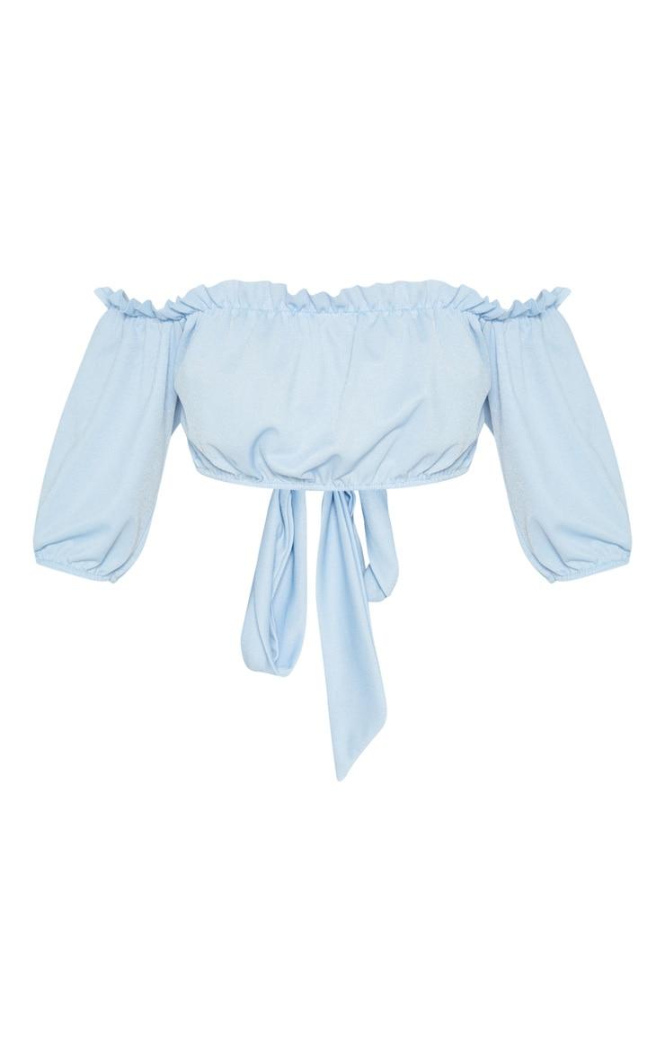 Powder Blue Crepe Bardot Tie Back Crop Top 3