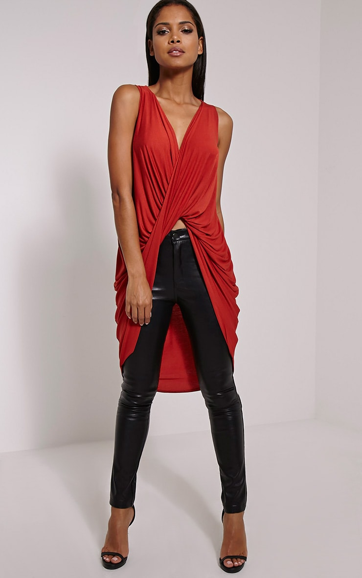 Rust Long Twist Front Sleeveless Top 3
