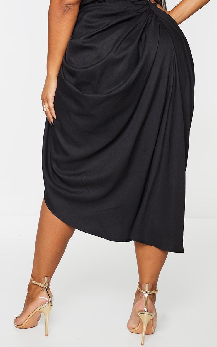 Plus Black Ruched Side Midi Skirt 3