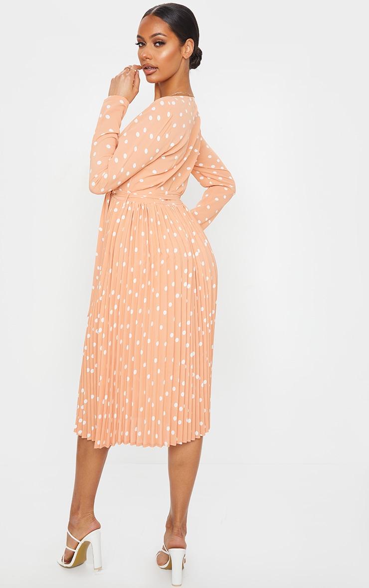 Robe mandarine imprimé pois mi-longue plissée à manches longues 2