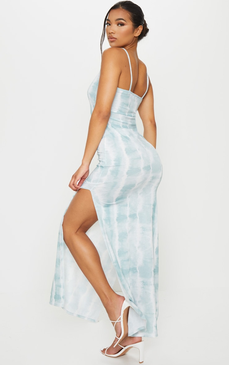 Teal Tie Dye Racer Neck Low Back Maxi Dress 2