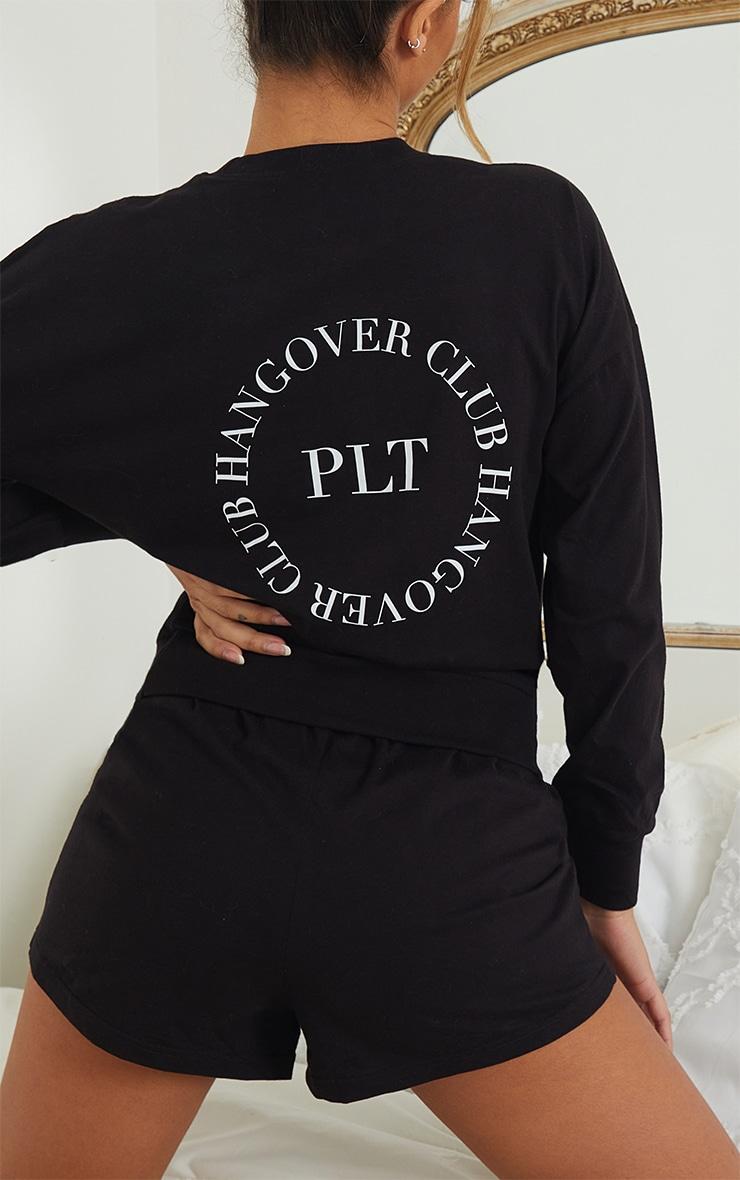 PRETTYLITTLETHING Black Hangover Club Shorts Lounge Set 4