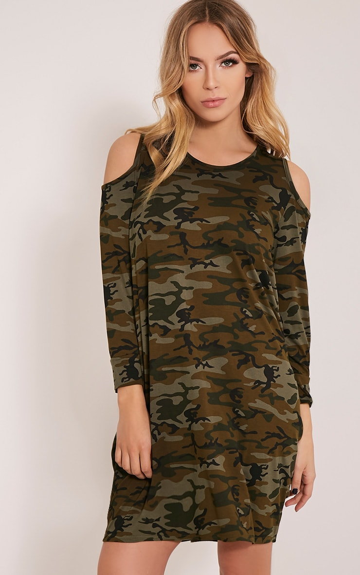Bronwyn Khaki Camouflage Cold Shoulder Dress 1