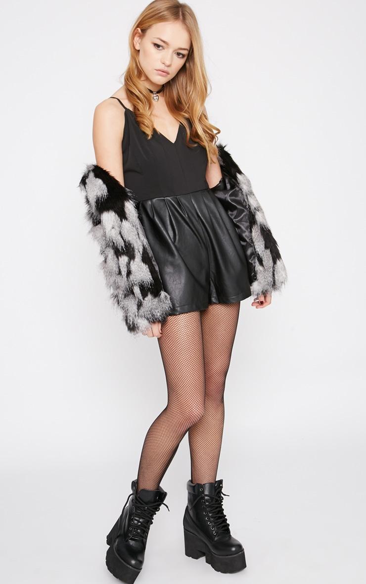 Minna Black Leather Short Playsuit  3