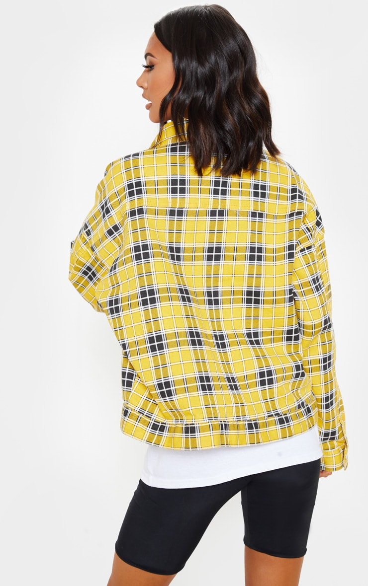 Yellow Checked Oversized Denim Jacket  2