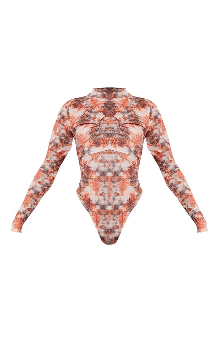 Orange Tie Dye Keyhole Detail High Neck Bodysuit 5