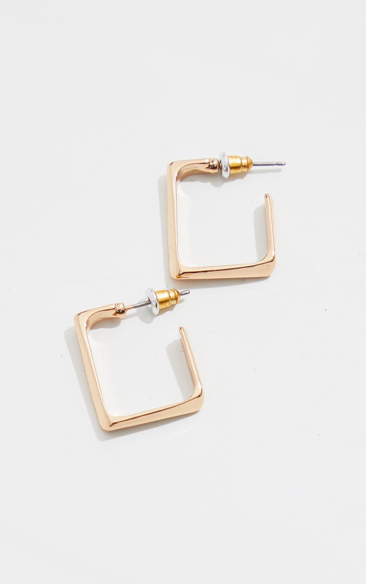 Gold Mini Chunky Square Hoop Earrings 2