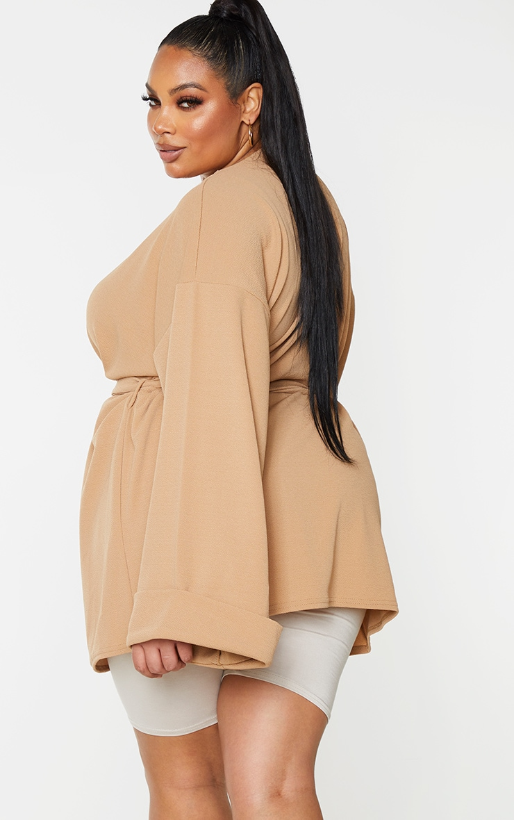 Plus Camel Belted Oversized Sleeve Blazer 2