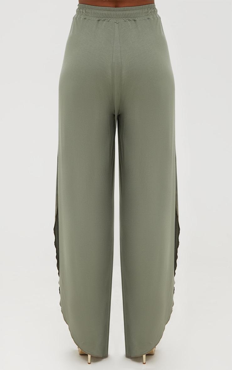 Khaki Jersey Side Split Wide Leg Joggers 3