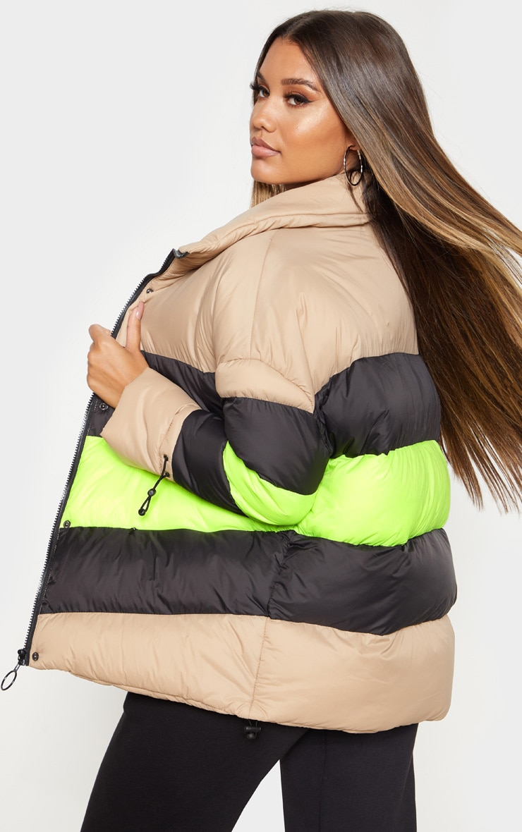 Camel Colour Block Panel Puffer  2