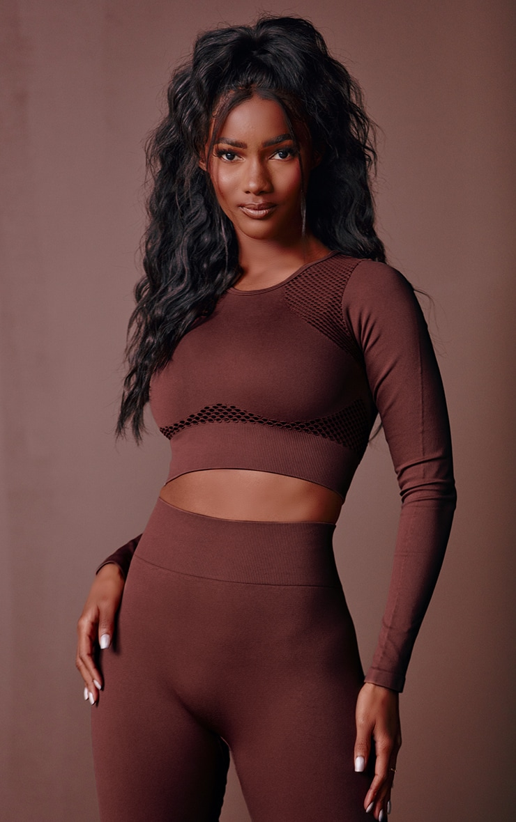 Chocolate Cut Out Seamless Long Sleeve Top 3