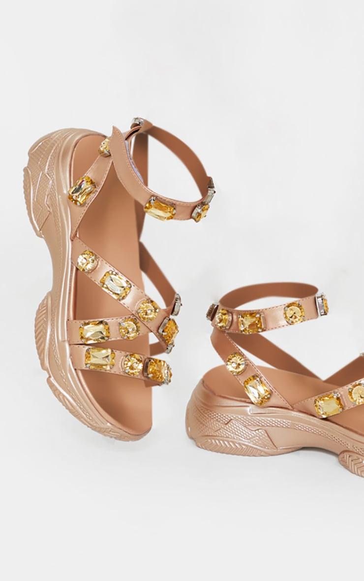Champagne Jewel Embellished Chunky Sport Sandals 3