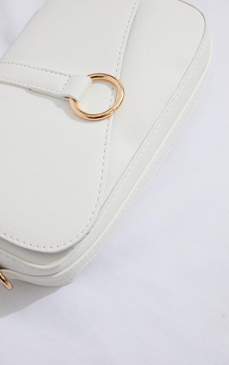 White PU Ring Detail Saddle Shoulder Bag 3