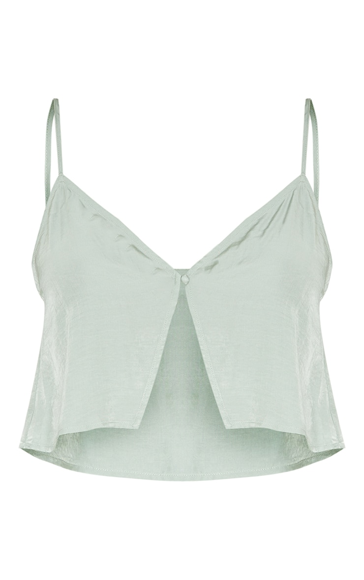 Tall Sage Green Button Detail Split Front Strappy Crop Top 5