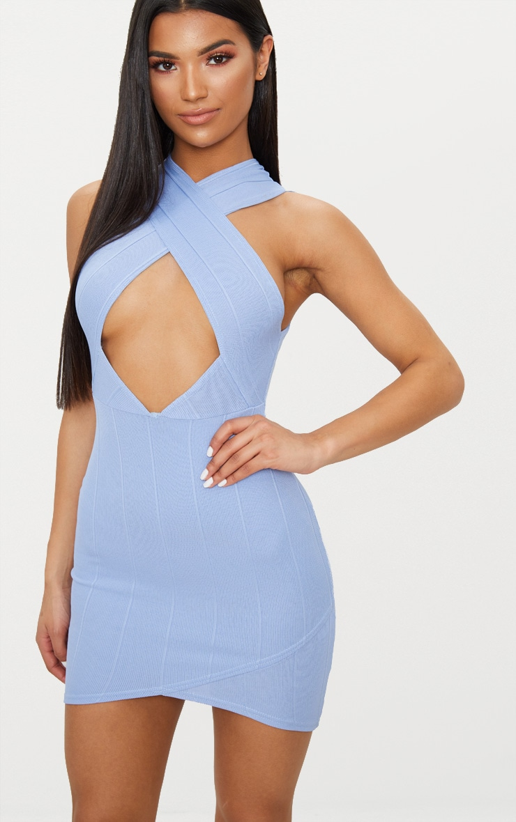 Dusky Blue Bandage Cross Neck Bodycon Dress