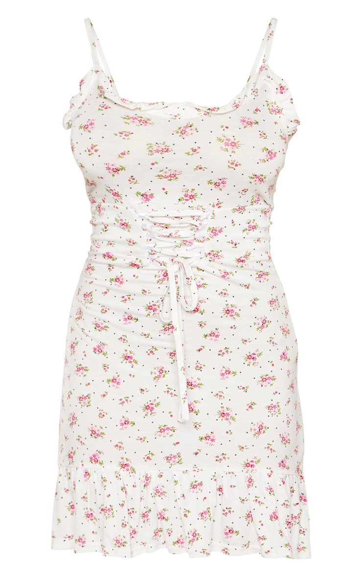 Petite White Ditsy Floral Corset Waist Skater Dress  3