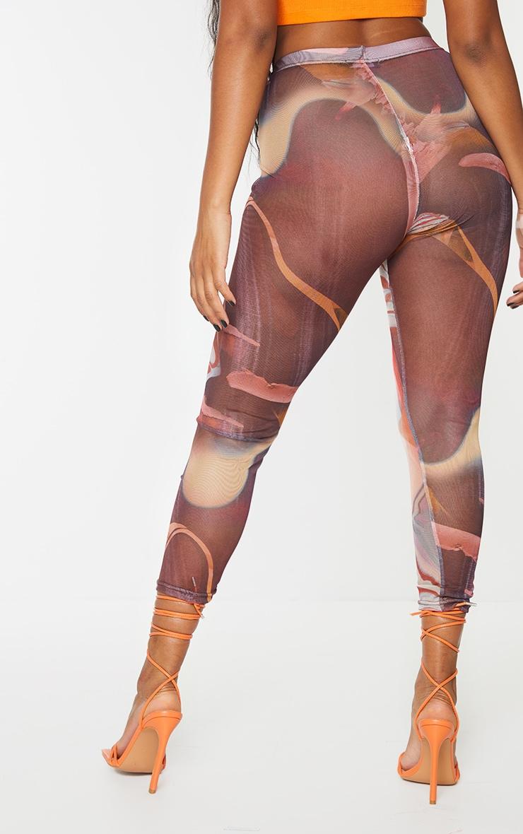 Red Marble Print Printed Mesh Leggings 3