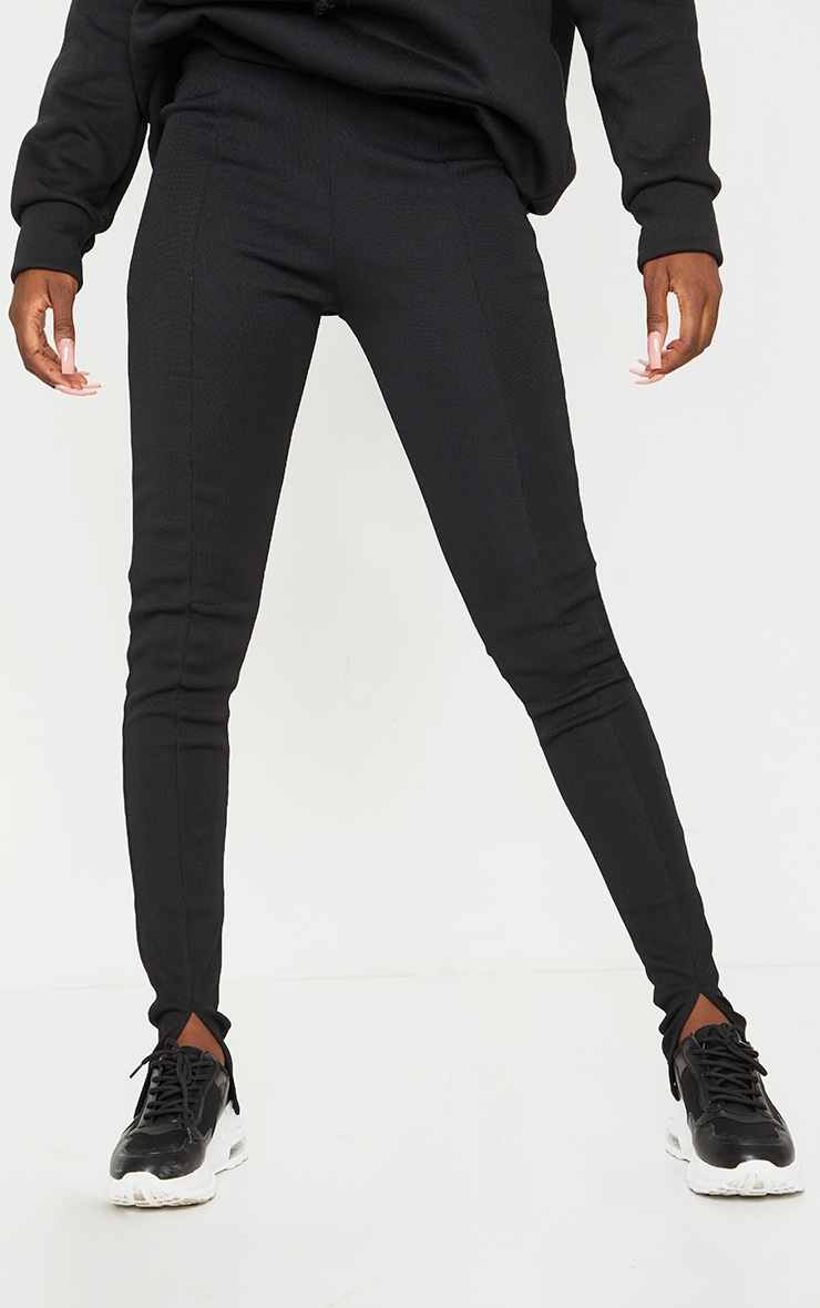 Tall Black Structured Ribbed Front Split Hem Legging 2