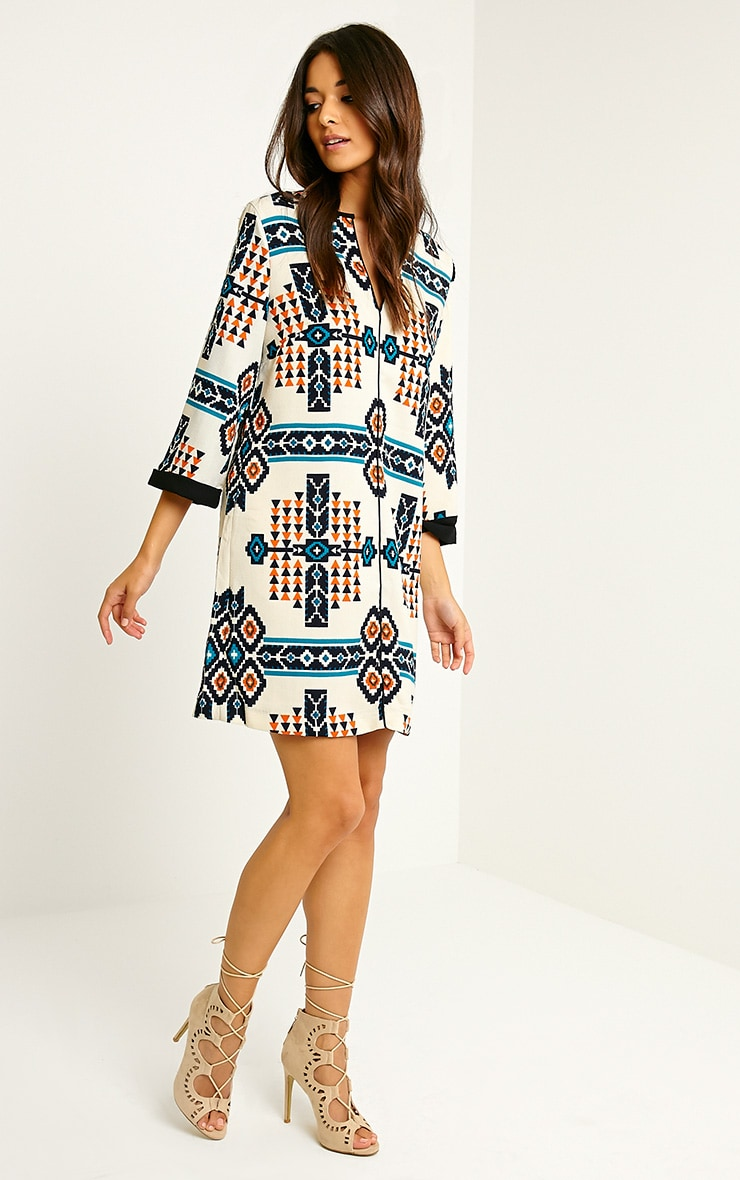 Wanda Cream Tribal Loose Fit Shift Dress 2