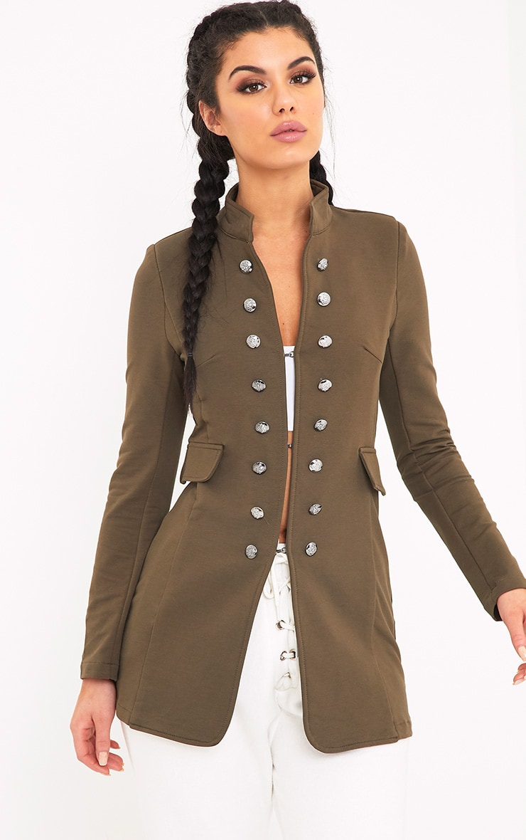 Solenn Khaki Double Button Miltary Coat 1