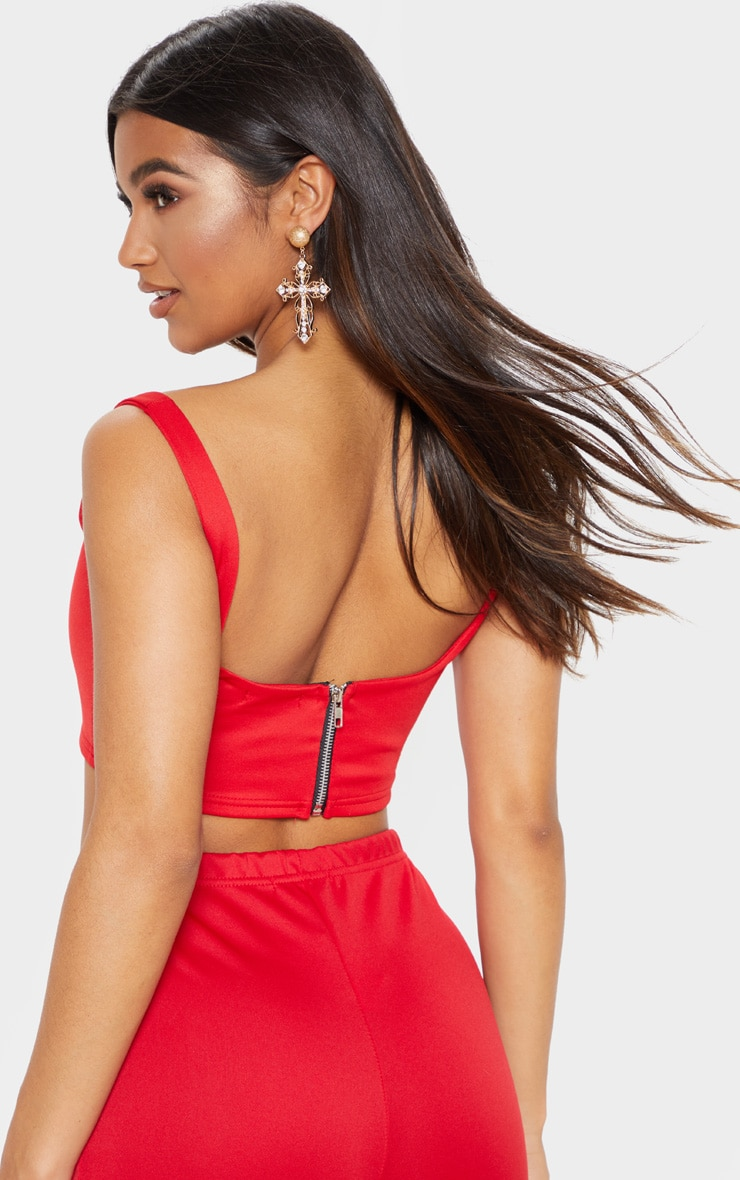 Red Square Neck Zip Back Crop Top 5