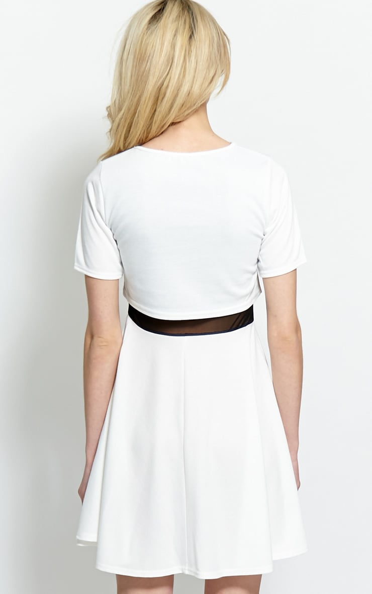Suzie White Jersey Mesh Skater Dress 2