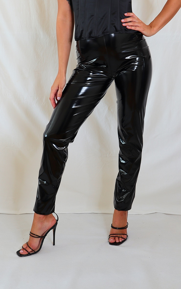 Black Faux Leather Dip Waist Skinny Trousers 2