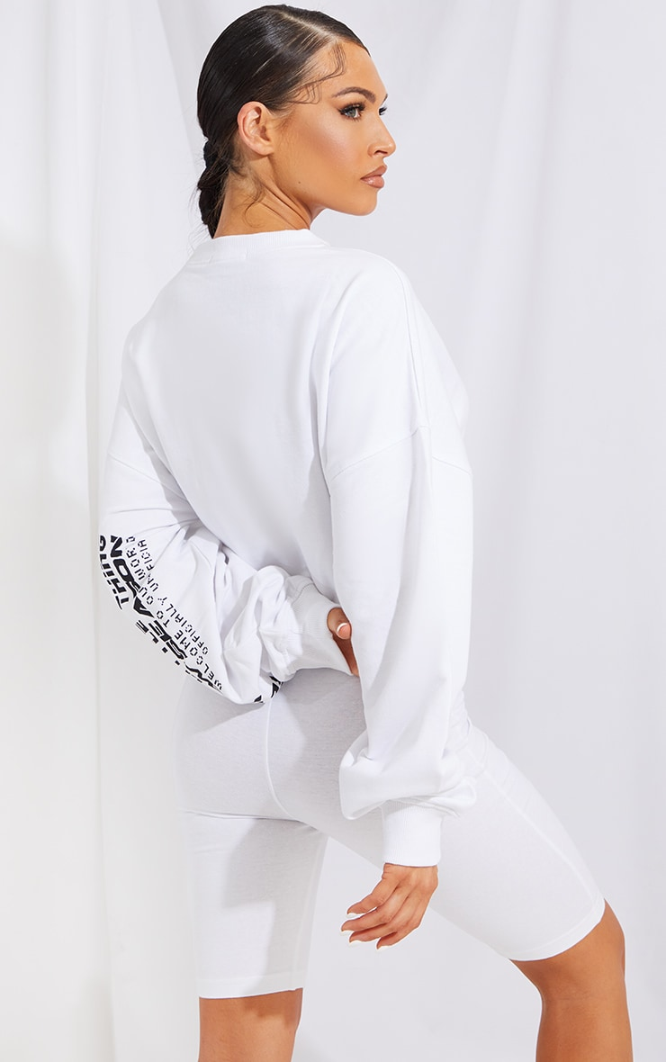 PRETTYLITTLETHING White New Season Long Sleeve Toggle Hem Crop Sweat 2