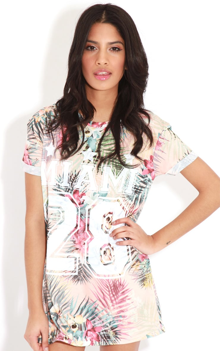 Aubree Peach Floral Miami 28 Sports Tee 4