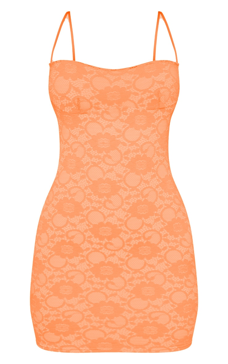 Orange Lace Cup Detail Strappy Bodycon Dress 3