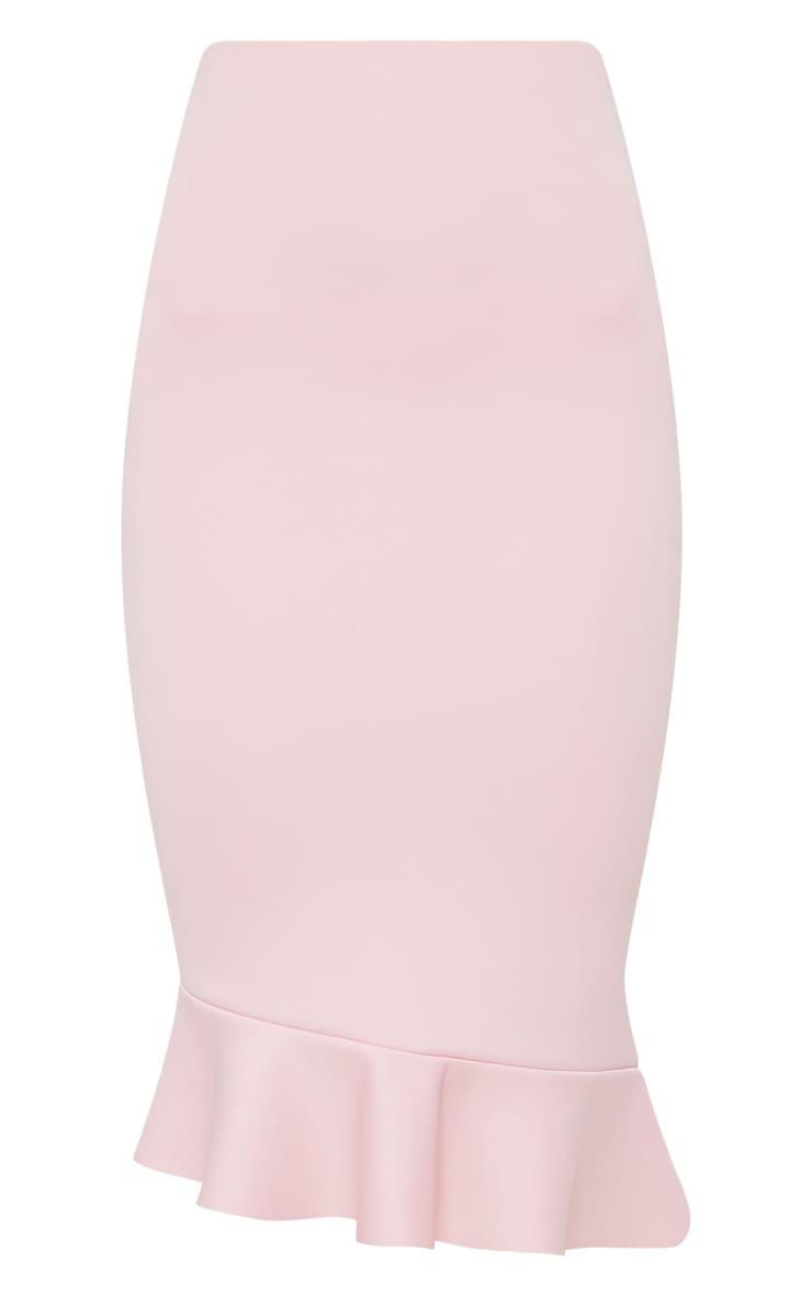 Dark Rose Scuba Asymmetrical Frill Hem Skirt 3