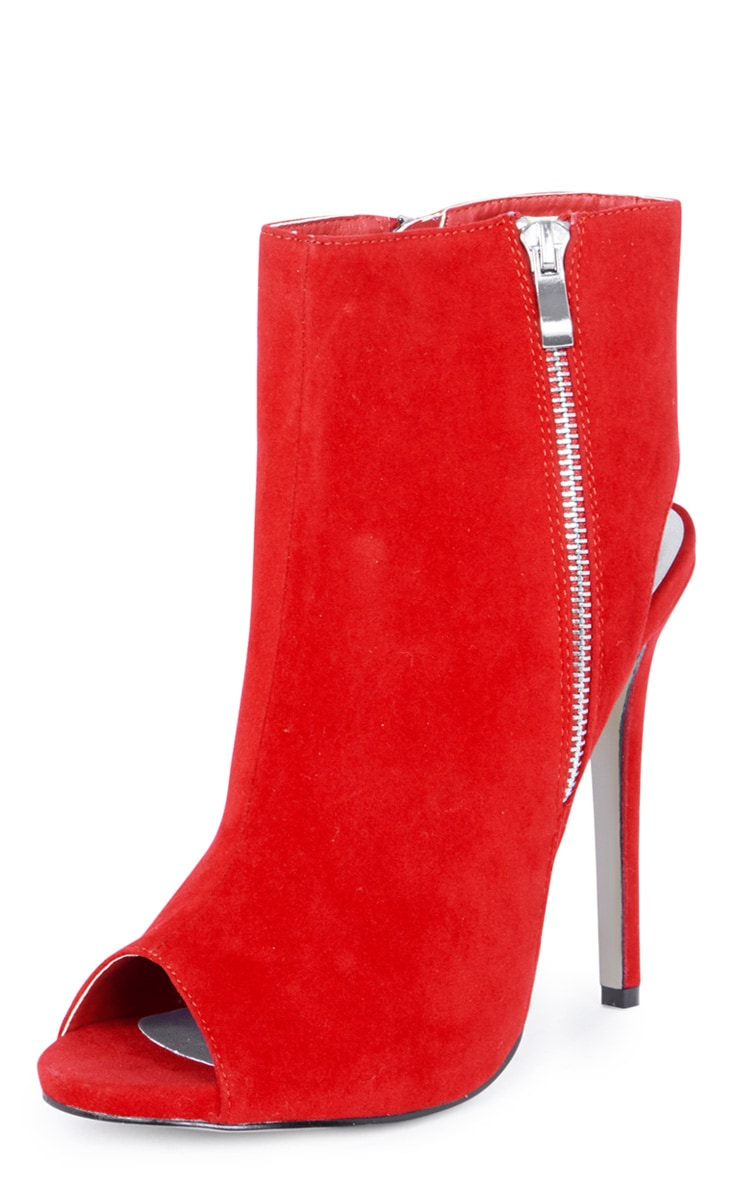 Lola Red Peep Toe Cut Out Ankle Boot 5