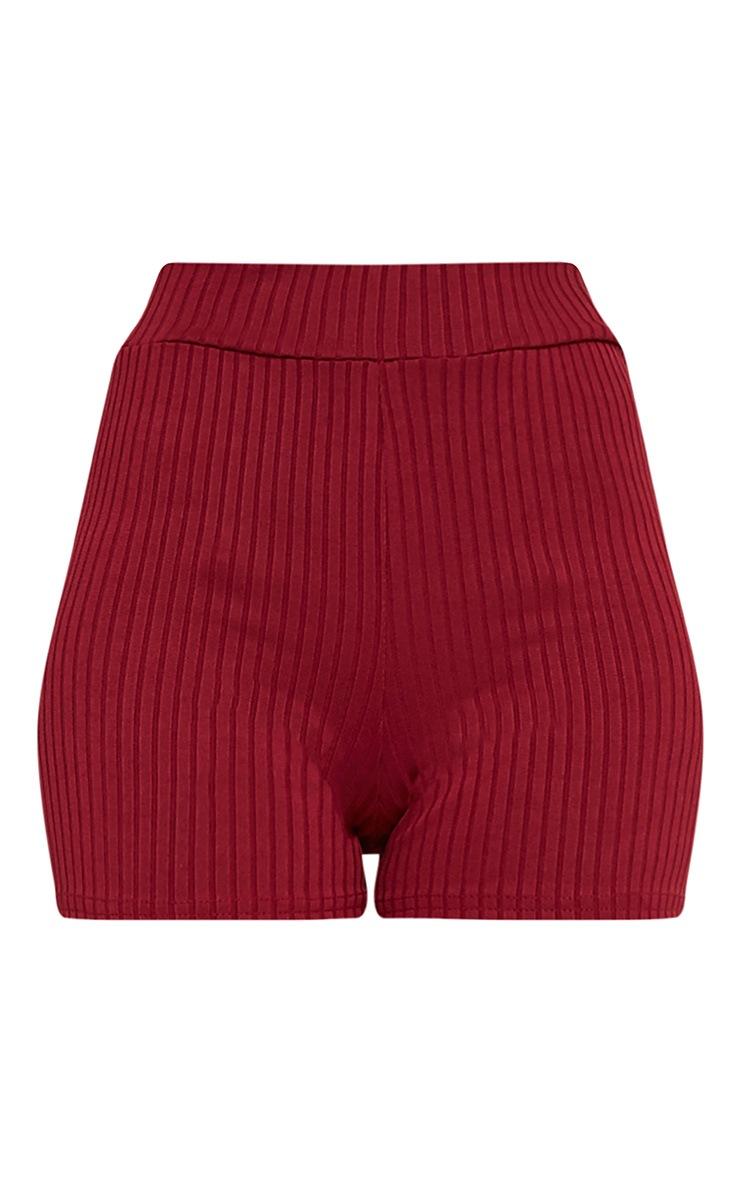Janice Burgundy Ribbed Shorts 3