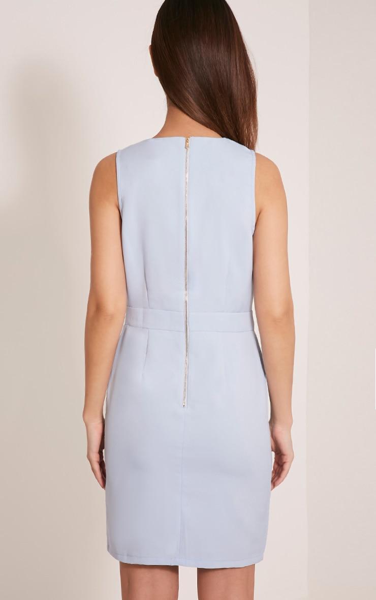 Keera Baby Blue Button Detail Blazer Dress 2