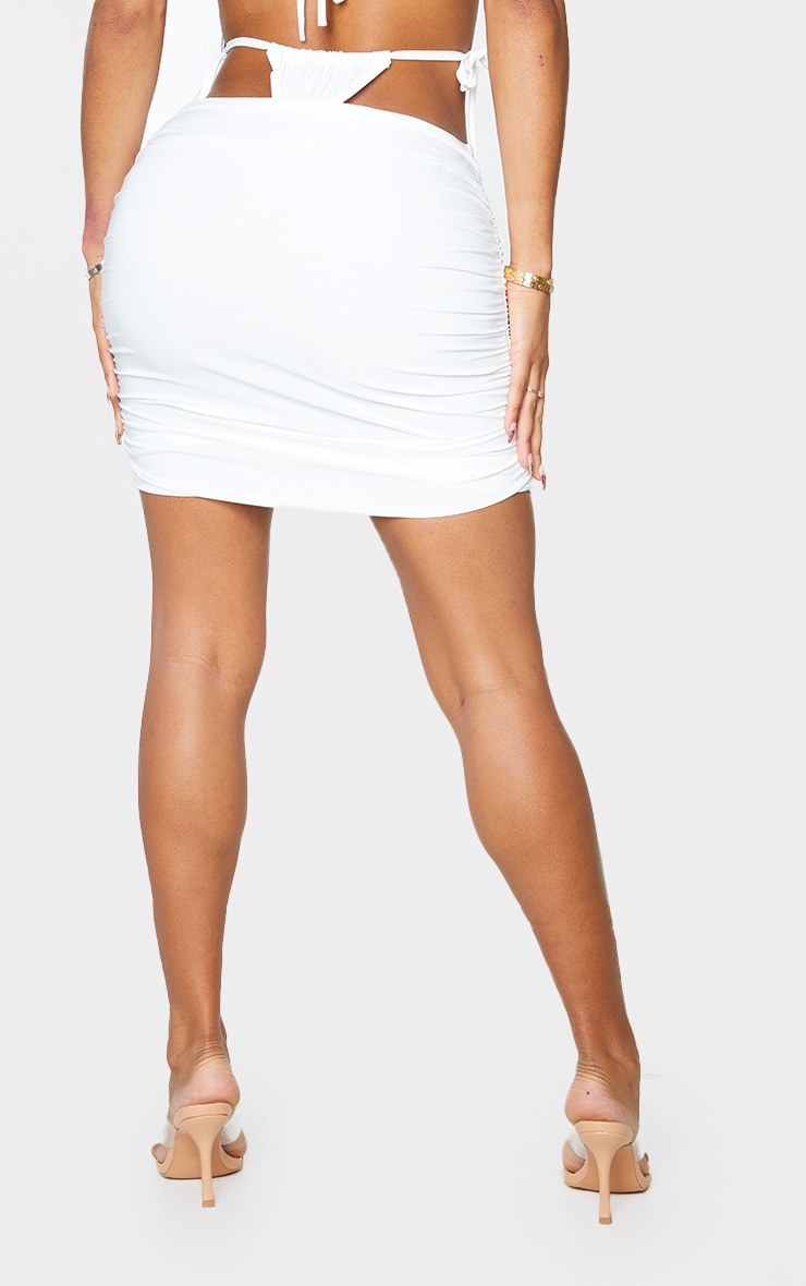 Shape Cream Slinky Ruched Tie Side Bodycon Skirt 3