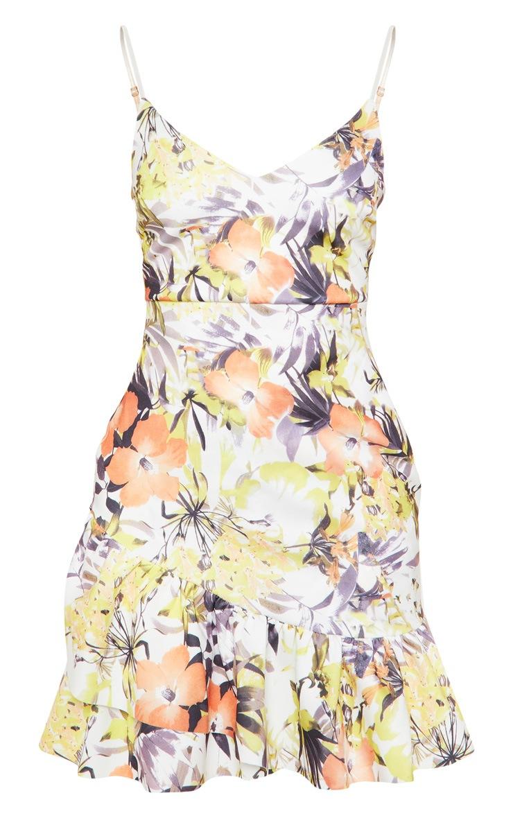 Multi Floral Print Strappy Asymmetric Hem Bodycon Dress 3