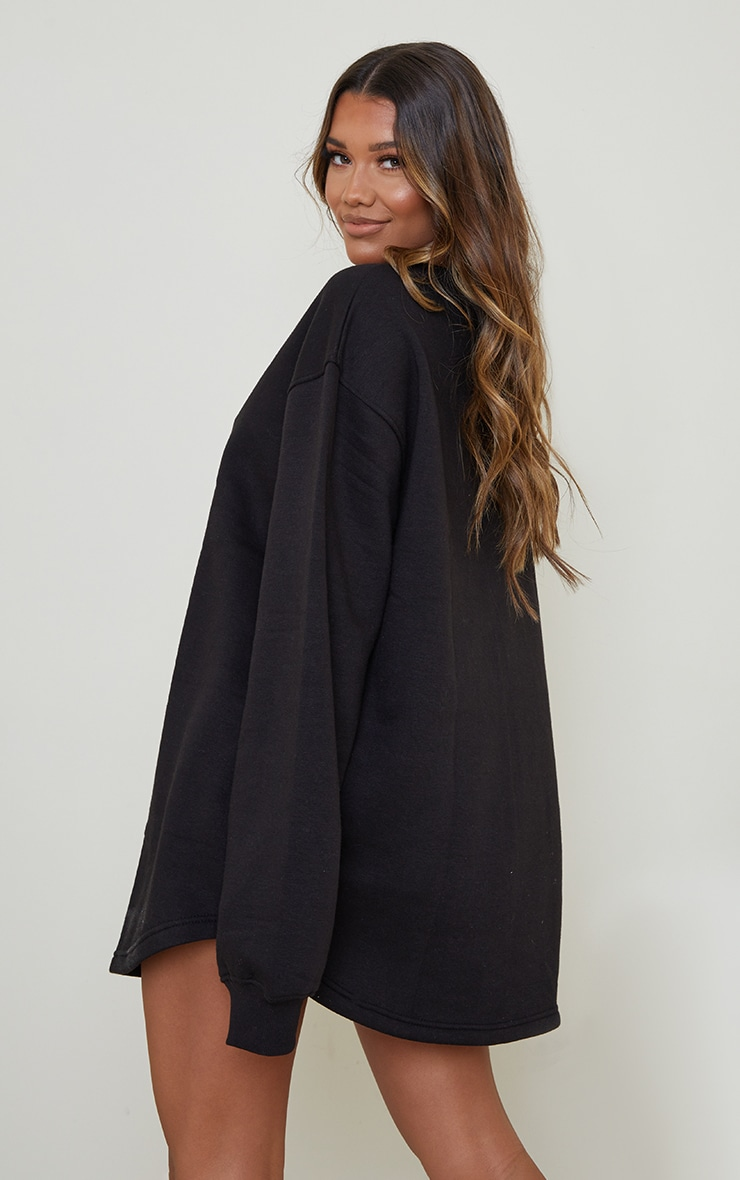 PRETTYLITTLETHING Black Contrast Stitch Oversized Sweater Dress 2