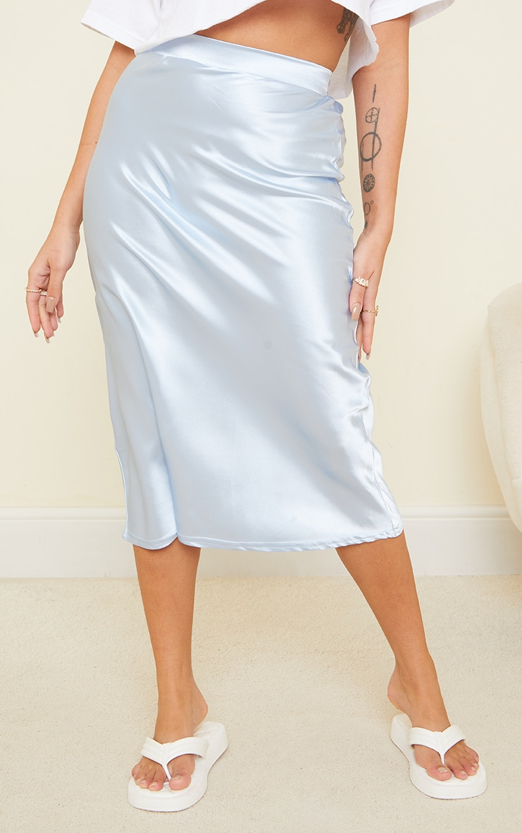 Petite Dusky Blue Satin Bias Cut Midi Skirt 2